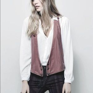 Free People Rose Velvet Vest with Brass Buttons